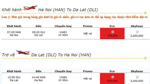 Vé máy bay đi Đà Lạt