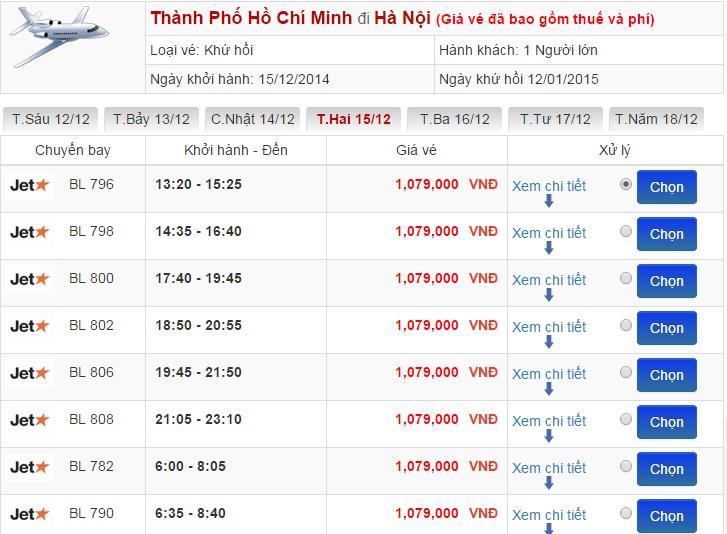Bảng giá vé máy bay đi Hà Nội từ TP.HCM