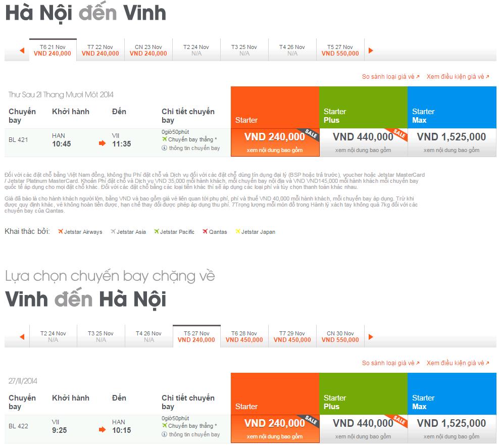Bảng giá vé máy bay đi Hà Nội từ Vinh