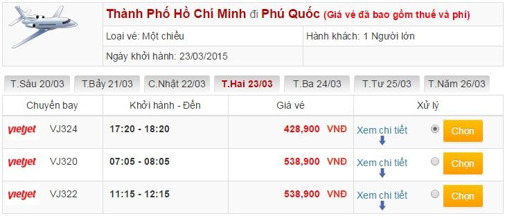 Vé máy bay đi Phú Quốc từ TPHCM