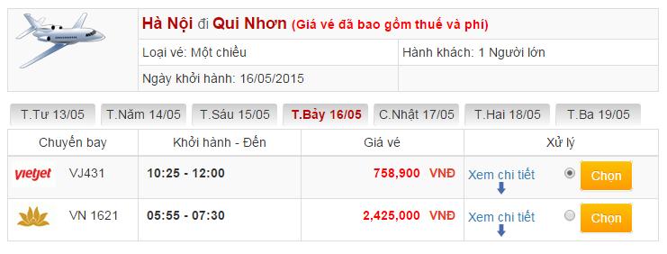 Vé máy bay đi Quy Nhơn từ Hà Nội