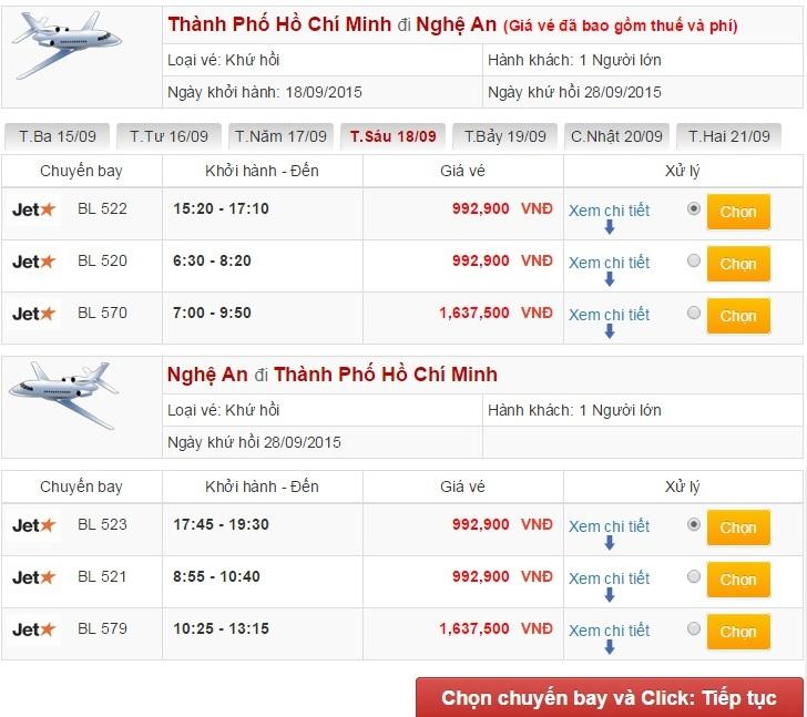 Vé máy bay đi Vinh từ TPHCM
