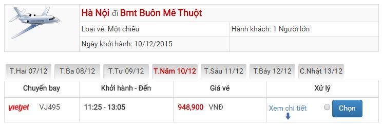 Bảng giá vé máy bay đi Ban Mê Thuột Hà Nội của Vietjet Air