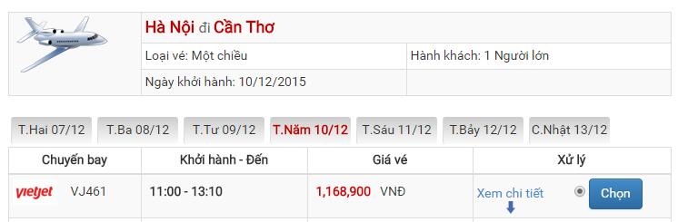 Bảng giá vé máy bay đi Cần Thơ Hà Nội của Vietjet Air