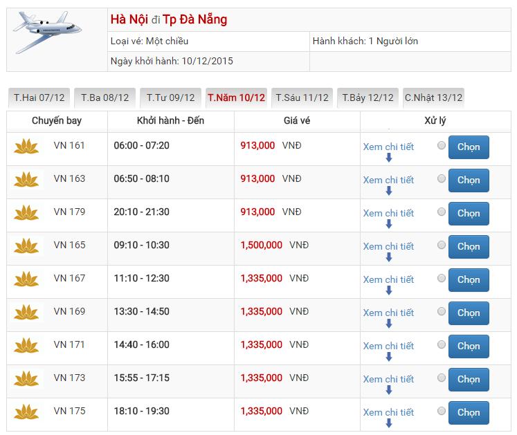 Bảng giá vé máy bay đi Đà Nẵng Hà Nội của Vietnam Airlines
