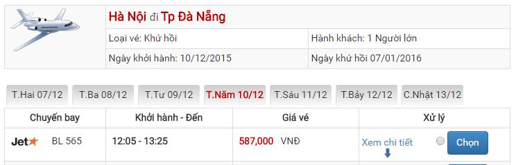 Bảng giá vé máy bay đi Đà Nẵng Hà Nội của Jetstar