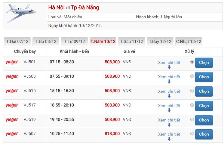 Bảng giá vé máy bay đi Đà Nẵng Hà Nội của Vietjet Air