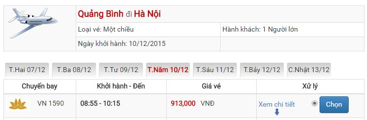 Bảng giá vé máy bay từ Quảng Bình đi Hà Nội của Vietnam Airlines