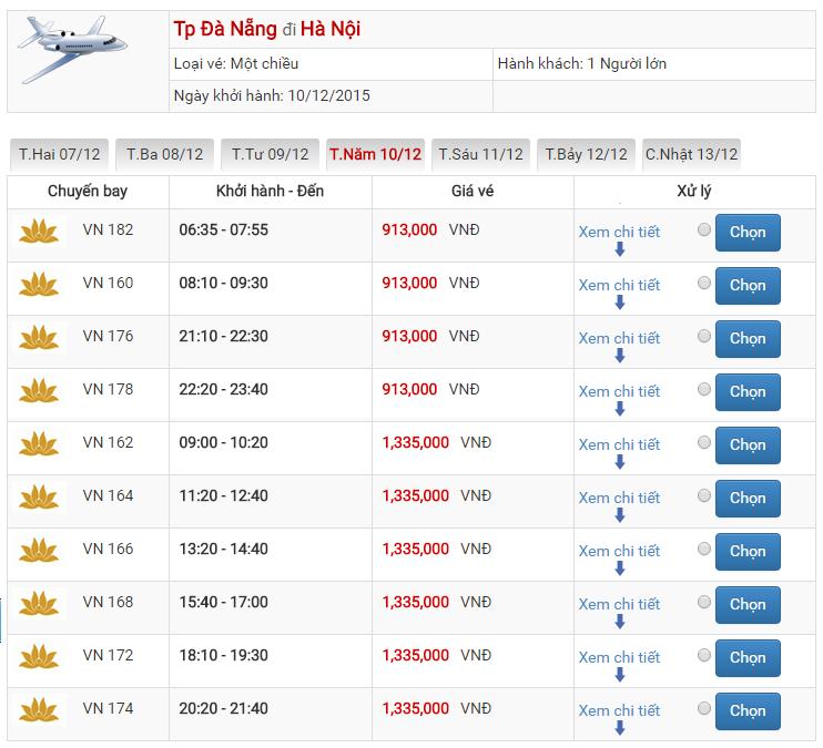 Bảng giá vé máy bay từ Đà Nẵng đi Hà Nội của Vietnam Airlines