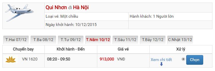 Bảng giá vé máy bay từ Qui Nhơn đi Hà Nội của Vietnam Airlines