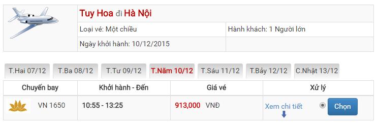 Bảng giá vé máy bay từ Phú Yên đi Hà Nội của Vietnam Airlines