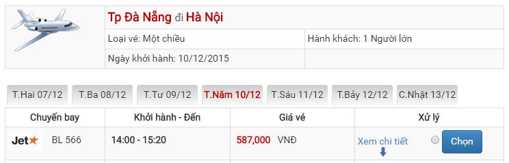 Bảng giá vé máy bay từ Đà Nẵng đi Hà Nội của Jetstar