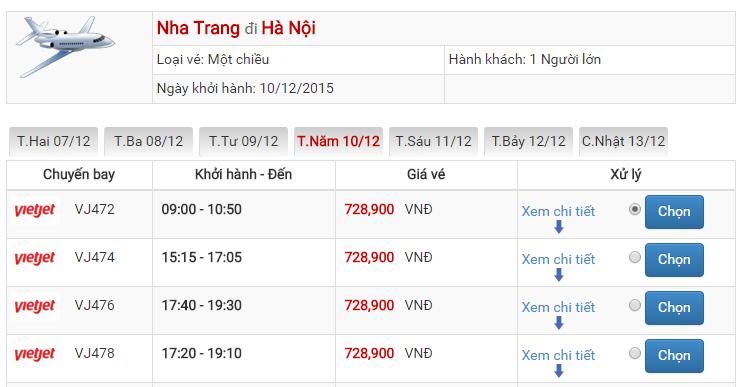 Bảng giá vé máy bay từ Nha Trang đi Hà Nội của Vietjet Air