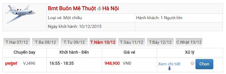 Bảng giá vé máy bay từ Ban Mê Thuột đi Hà Nội của Vietjet Air