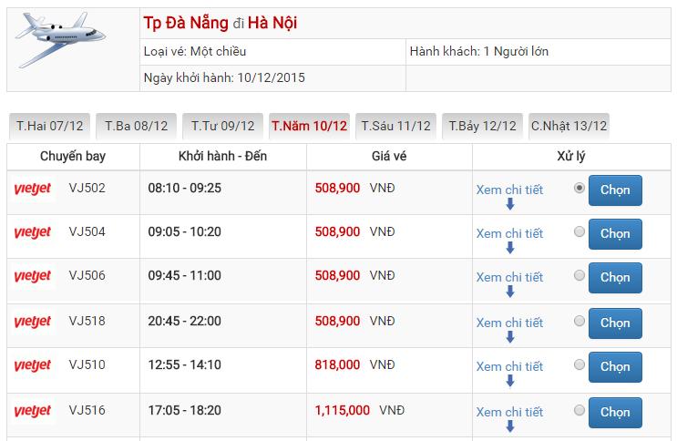 Bảng giá vé máy bay từ Đà Nẵng đi Hà Nội của Vietjet Air