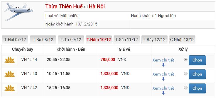 Bảng giá vé máy bay từ Huế đi Hà Nội của Vietnam Airlines