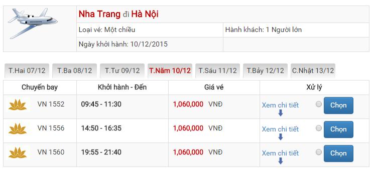 Bảng giá vé máy bay từ Cam Ranh đi Hà Nội của Vietnam Airlines