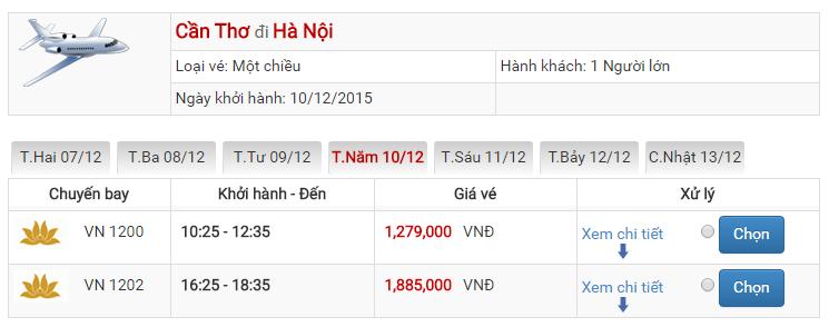 Bảng giá vé máy bay từ Cần Thơ đi Hà Nội của Vietnam Airlines