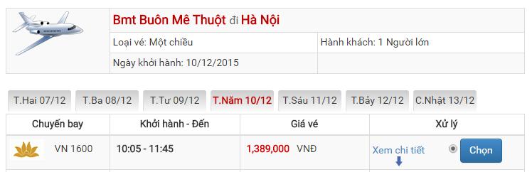 Bảng giá vé máy bay từ Buôn Ma Thuột đi Hà Nội của Vietnam Airlines
