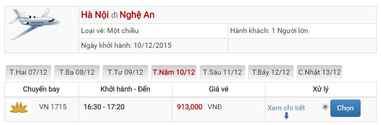 Bảng giá vé máy bay đi Vinh Hà Nội của Vietnam Airlines