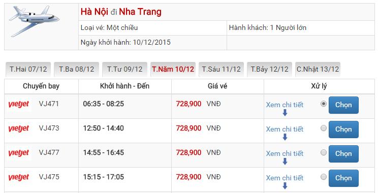 Bảng giá vé máy bay đi Nha Trang Hà Nội của Vietjet Air