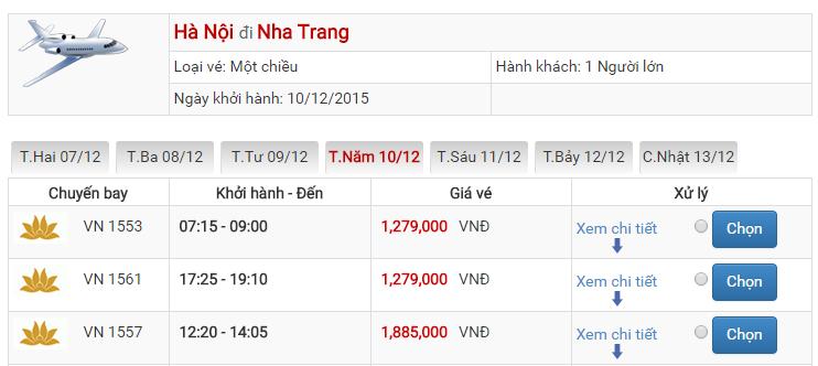 Bảng giá vé máy bay đi Cam Ranh Hà Nội của Vietnam Airlines