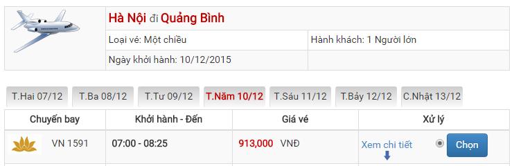 Bảng giá vé máy bay đi Quảng Bình Hà Nội của Vietnam Airlines
