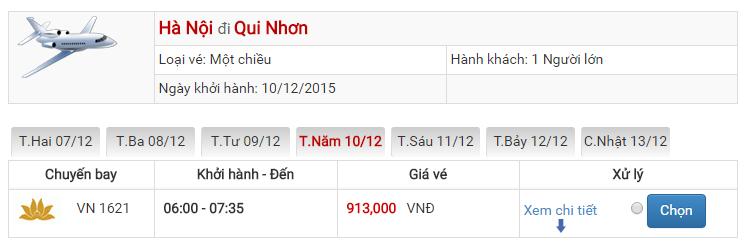 Bảng giá vé máy bay đi Qui Nhơn Hà Nội của Vietnam Airlines