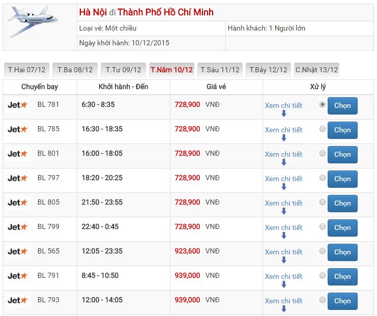 Bảng giá vé máy bay đi Sài Gòn từ Hà Nội của Jetstar