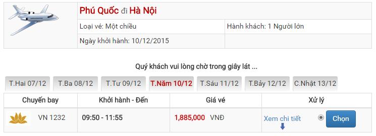 Bảng giá vé máy bay từ Phú Quốc đi Hà Nội của Jetstar