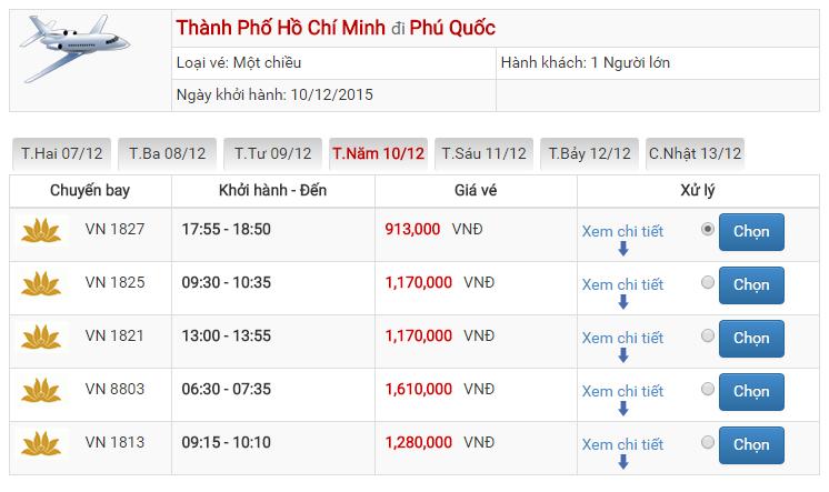 Vé Vietnam Airlines đi Phú Quốc