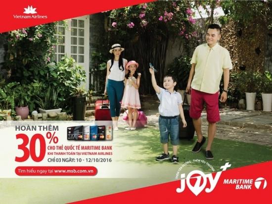 Ưu đãi gần 40% khi mua vé may bay Vietnam Airlines bằng thẻ Quốc tế Maritime Bank Ưu đãi gần 40% khi mua vé may bay Vietnam Airlines bằng thẻ Quốc tế Maritime Bank